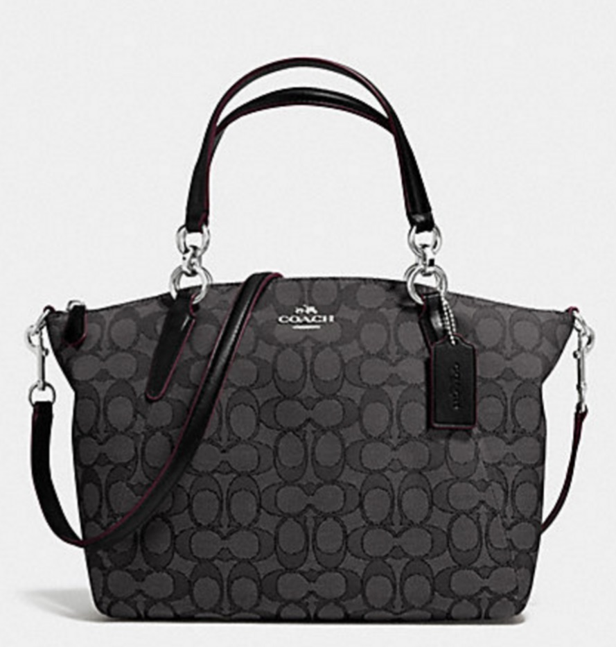 Coach Small Kelsey Satchel In Signature - Black Smoke Black F36625, 750, Handbags, Coach