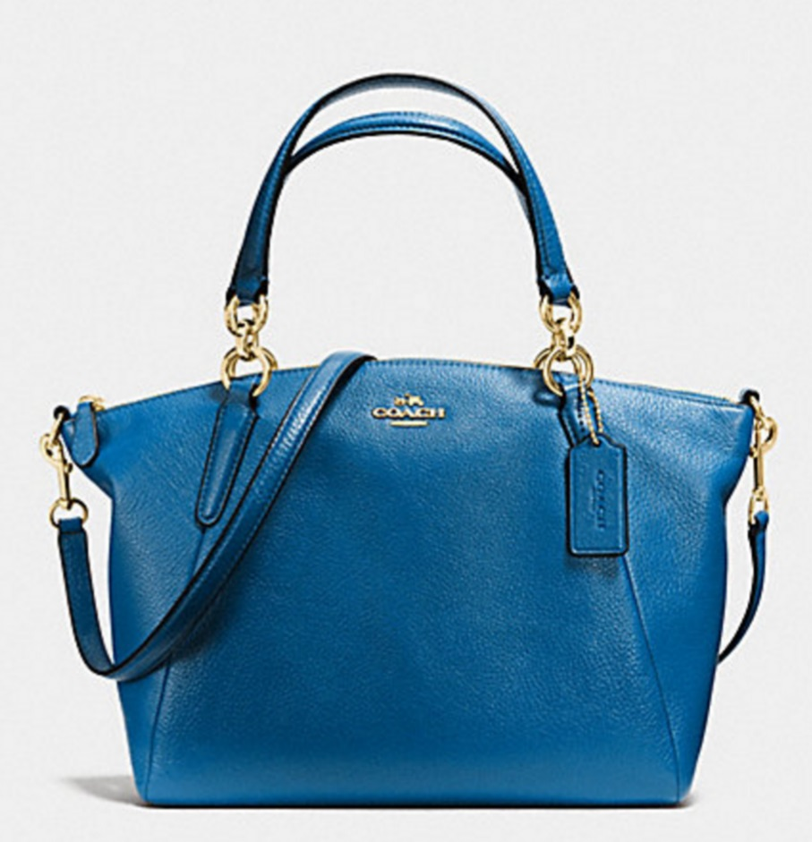 Coach Small Kelsey Satchel in Pebble Leather - Bright Mineral F36675, 890, Handbags, Coach