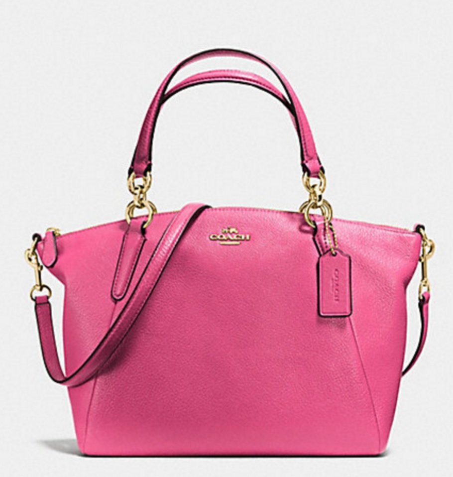 Coach Small Kelsey Satchel in Pebble Leather - Dahlia F36675, 890, Handbags, Coach