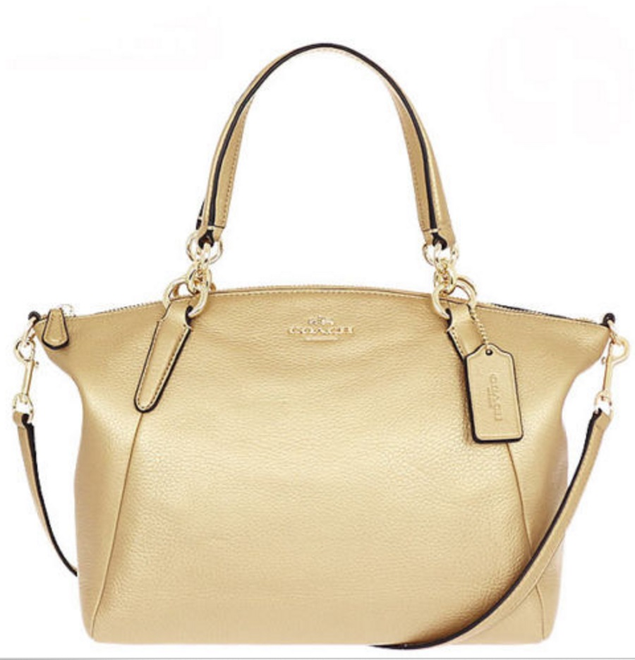 Coach Small Kelsey Satchel in Pebble Leather - Gold F36675, 890, Handbags, Coach