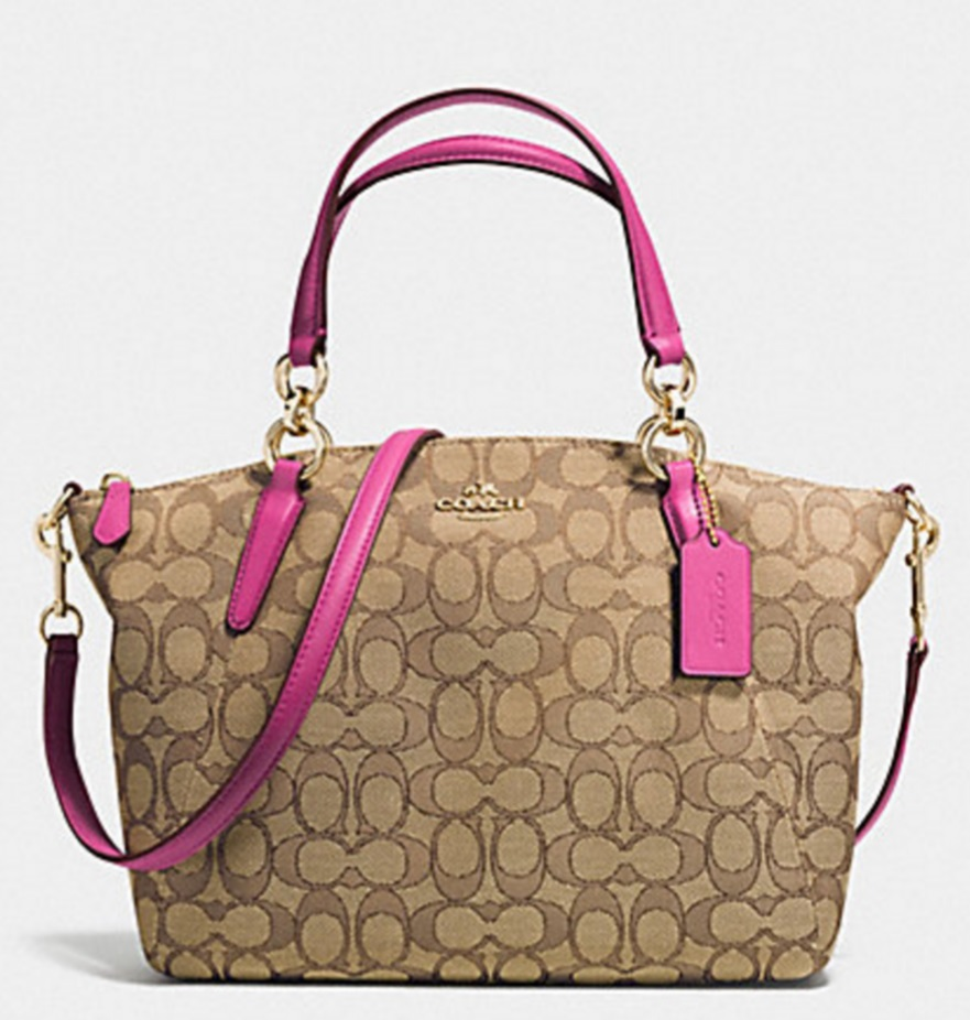 Coach Small Kelsey Satchel in Signature - Khaki Dahlia F36625, 750, Handbags, Coach