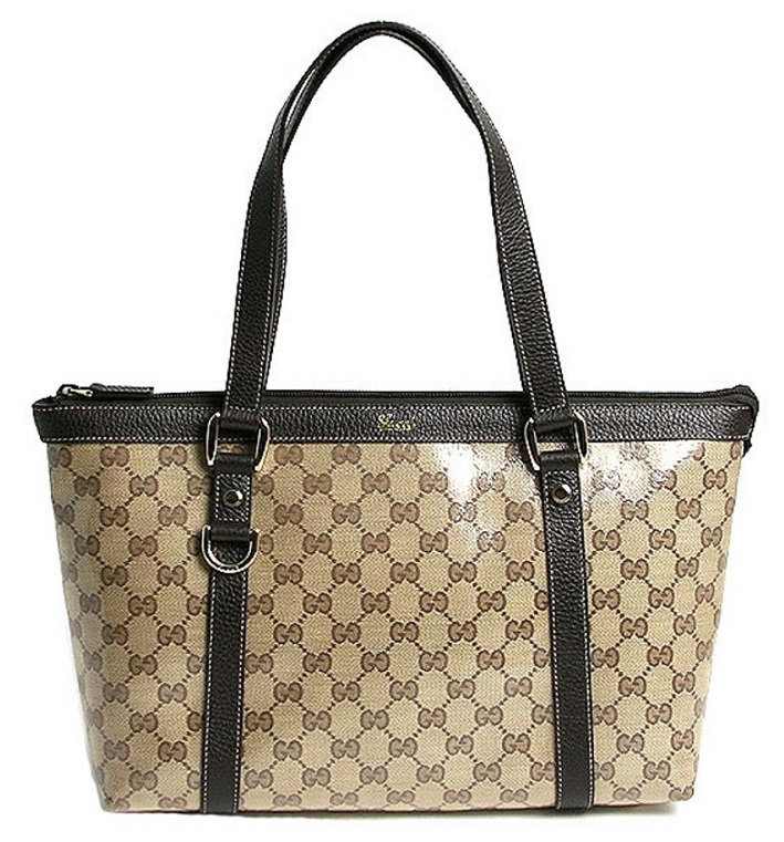 Gucci GG Crystal Tote - Beige Dark Brown 268640 FZIFG 9903, 1690, Tote Bag, Gucci