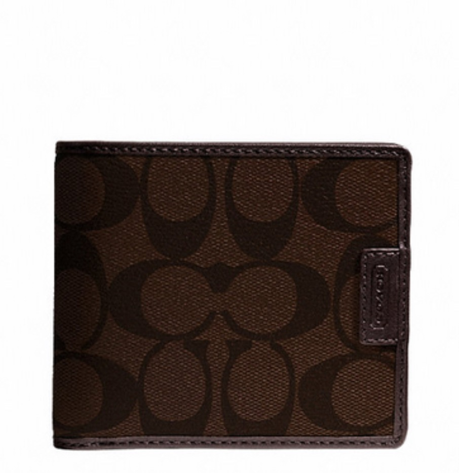 Heritage Signature Compact ID Wallet - Mahogany Brown F74736, 480, Men Wallets, Coach