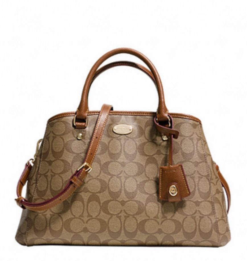 Small Margot Carryall in Signature Canvas - Khaki Saddle F34608, 870, Handbags, Coach